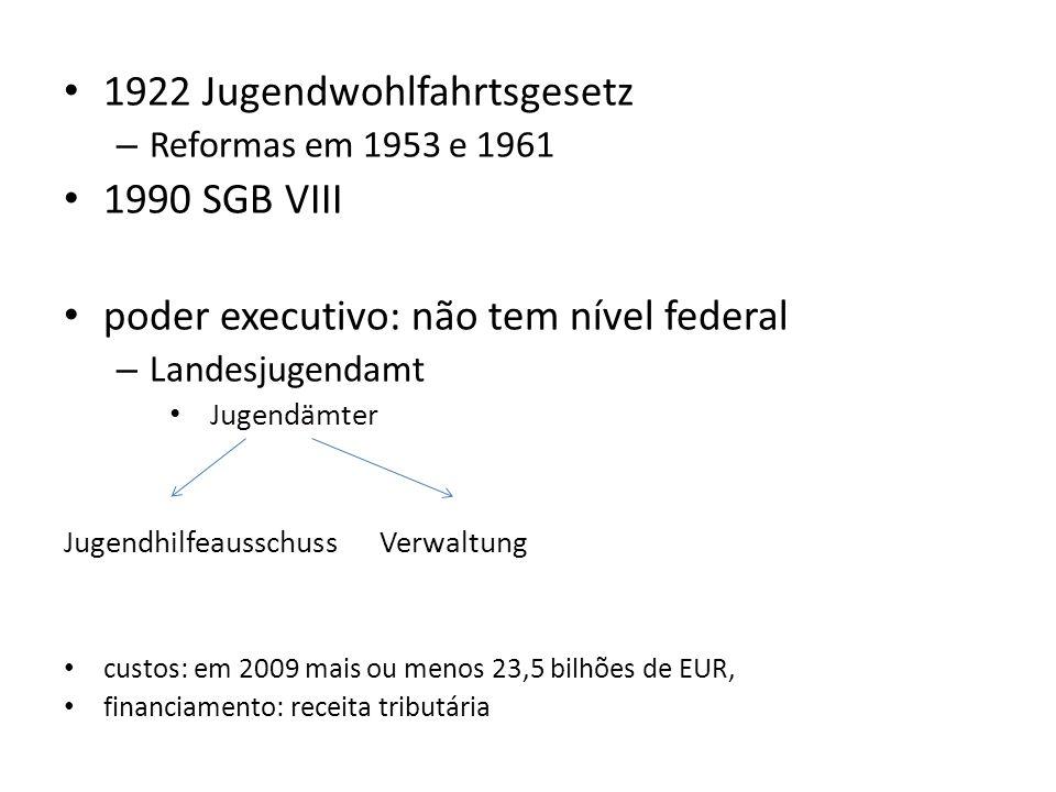 1922 Jugendwohlfahrtsgesetz – Reformas em 1953 e 1961 1990 SGB VIII poder executivo: não tem nível federal – Landesjugendamt Jugendämter Jugendhilfeau