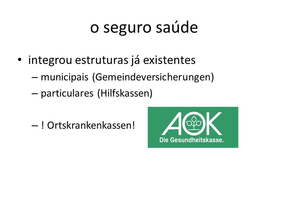 o seguro saúde integrou estruturas já existentes – municipais (Gemeindeversicherungen) – particulares (Hilfskassen) – ! Ortskrankenkassen!