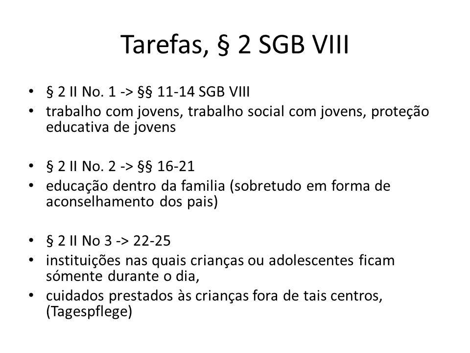 Tarefas, § 2 SGB VIII § 2 II No. 1 -> §§ 11-14 SGB VIII trabalho com jovens, trabalho social com jovens, proteção educativa de jovens § 2 II No. 2 ->