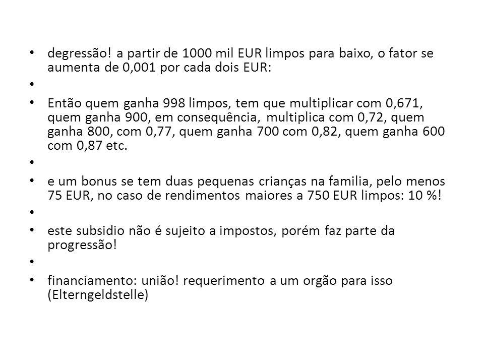 degressão! a partir de 1000 mil EUR limpos para baixo, o fator se aumenta de 0,001 por cada dois EUR: Então quem ganha 998 limpos, tem que multiplicar