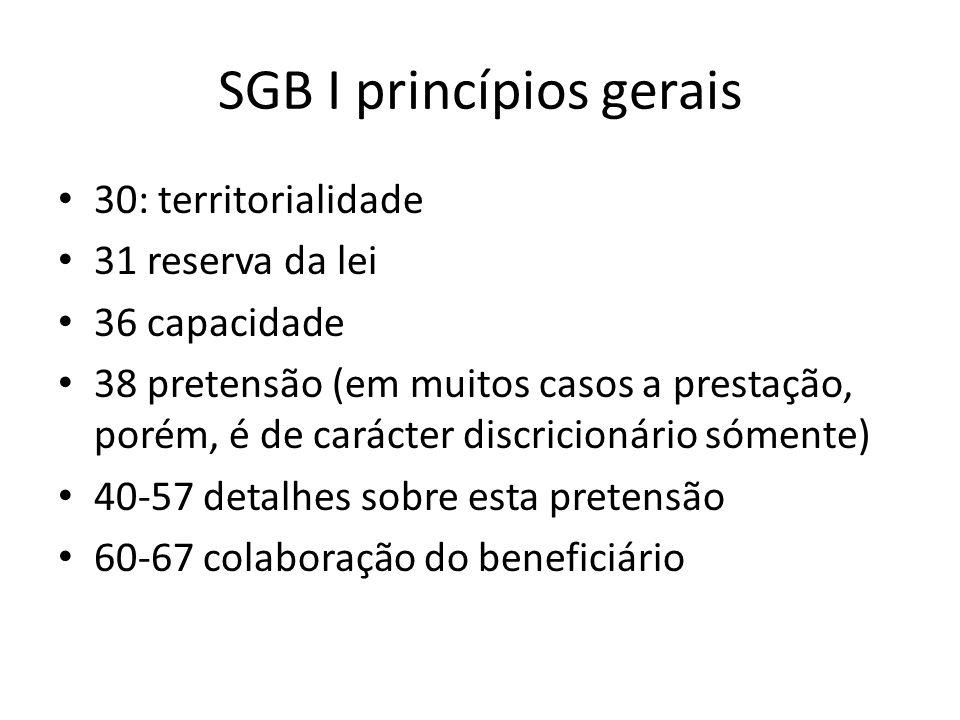 SGB I princípios gerais 30: territorialidade 31 reserva da lei 36 capacidade 38 pretensão (em muitos casos a prestação, porém, é de carácter discricio