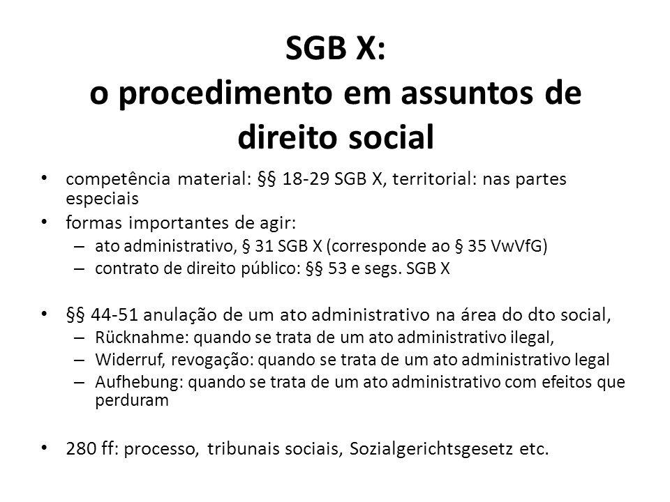 SGB X: o procedimento em assuntos de direito social competência material: §§ 18-29 SGB X, territorial: nas partes especiais formas importantes de agir