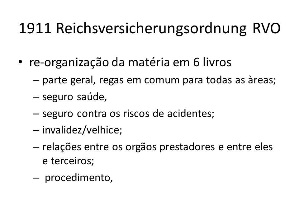 1911 Reichsversicherungsordnung RVO re-organização da matéria em 6 livros – parte geral, regas em comum para todas as àreas; – seguro saúde, – seguro