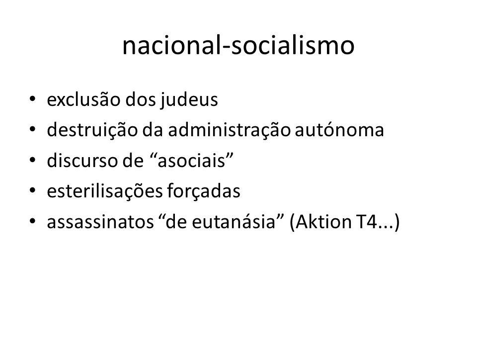 nacional-socialismo exclusão dos judeus destruição da administração autónoma discurso de asociais esterilisações forçadas assassinatos de eutanásia (A