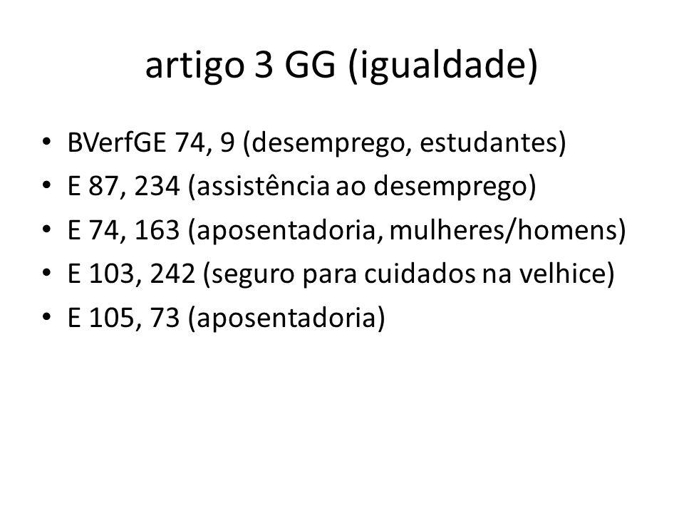 artigo 3 GG (igualdade) BVerfGE 74, 9 (desemprego, estudantes) E 87, 234 (assistência ao desemprego) E 74, 163 (aposentadoria, mulheres/homens) E 103,