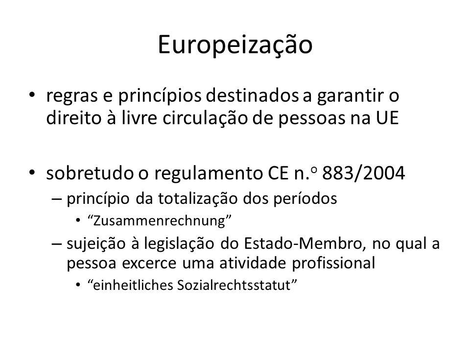 Europeização regras e princípios destinados a garantir o direito à livre circulação de pessoas na UE sobretudo o regulamento CE n. o 883/2004 – princí