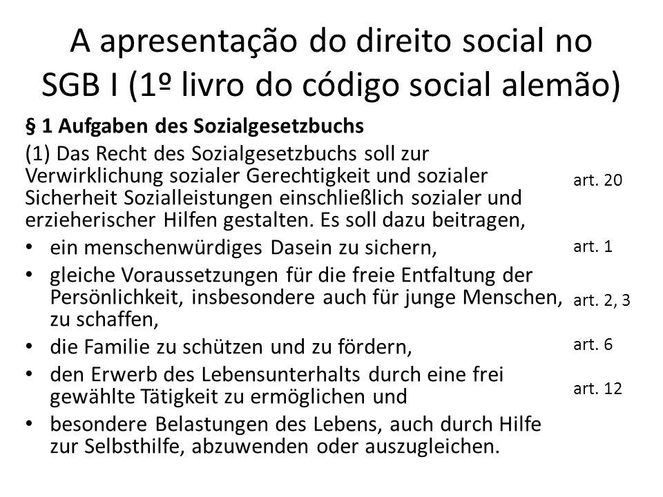 A apresentação do direito social no SGB I (1º livro do código social alemão) § 1 Aufgaben des Sozialgesetzbuchs (1) Das Recht des Sozialgesetzbuchs so