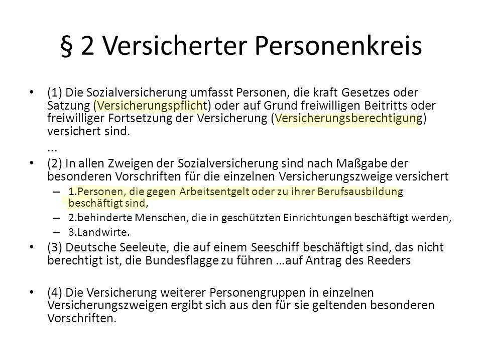 § 2 Versicherter Personenkreis (1) Die Sozialversicherung umfasst Personen, die kraft Gesetzes oder Satzung (Versicherungspflicht) oder auf Grund frei