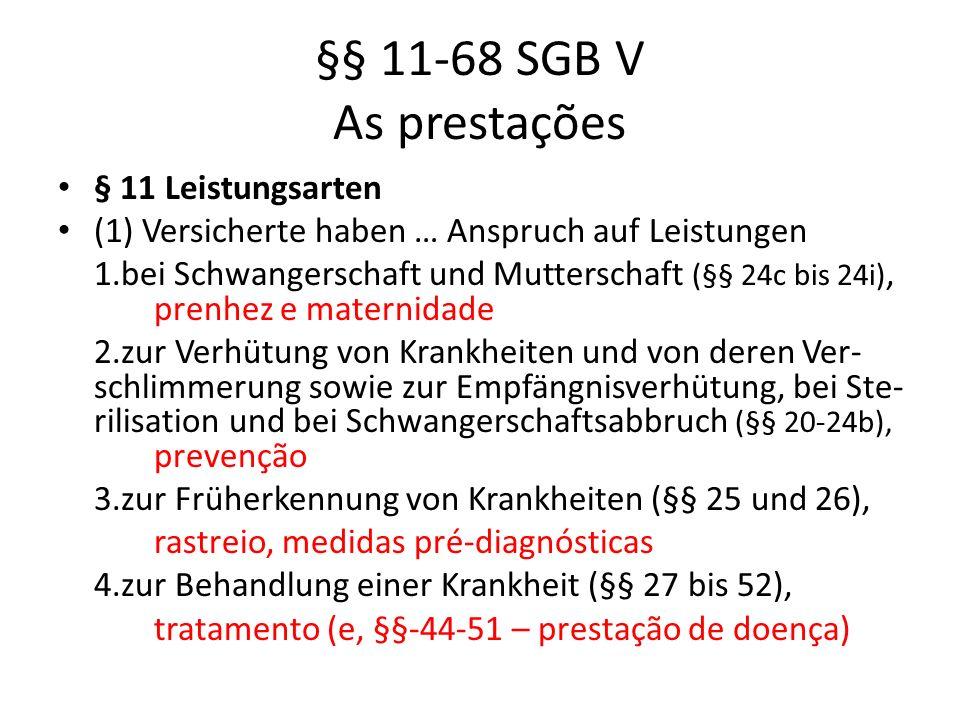 §§ 11-68 SGB V As prestações § 11 Leistungsarten (1) Versicherte haben … Anspruch auf Leistungen 1.bei Schwangerschaft und Mutterschaft (§§ 24c bis 24