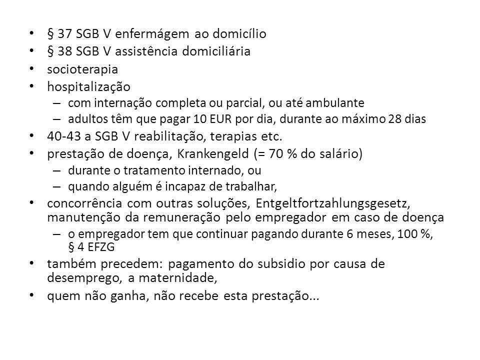 § 37 SGB V enfermágem ao domicílio § 38 SGB V assistência domiciliária socioterapia hospitalização – com internação completa ou parcial, ou até ambula