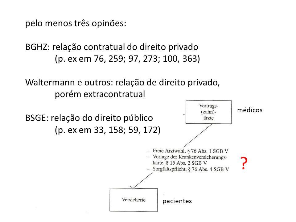 médicos pacientes ? pelo menos três opinões: BGHZ: relação contratual do direito privado (p. ex em 76, 259; 97, 273; 100, 363) Waltermann e outros: re