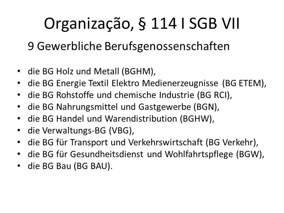 Organização, § 114 I SGB VII 9 Gewerbliche Berufsgenossenschaften die BG Holz und Metall (BGHM), die BG Energie Textil Elektro Medienerzeugnisse (BG E