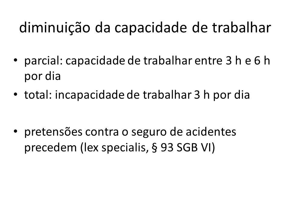 diminuição da capacidade de trabalhar parcial: capacidade de trabalhar entre 3 h e 6 h por dia total: incapacidade de trabalhar 3 h por dia pretensões