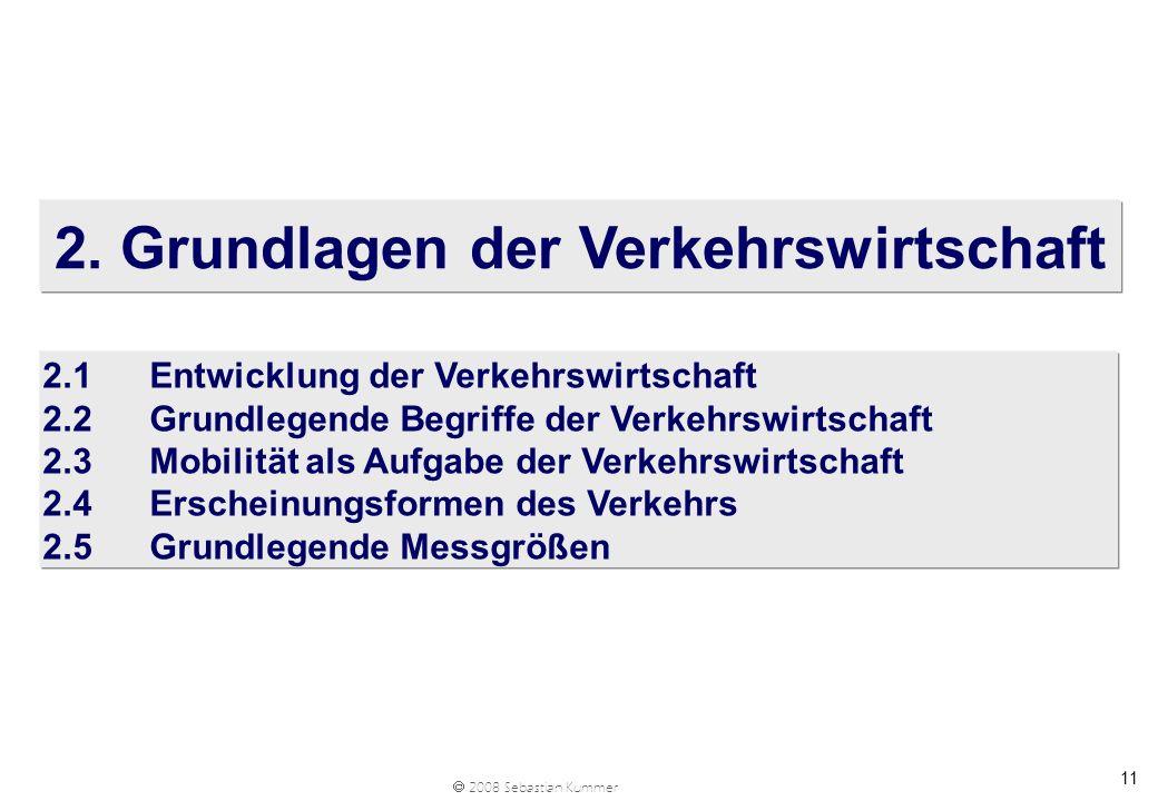 2008 Sebastian Kummer 11 2. Grundlagen der Verkehrswirtschaft 2.1Entwicklung der Verkehrswirtschaft 2.2Grundlegende Begriffe der Verkehrswirtschaft 2.