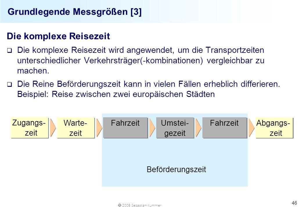 2008 Sebastian Kummer 46 Grundlegende Messgrößen [3] Die komplexe Reisezeit q Die komplexe Reisezeit wird angewendet, um die Transportzeiten unterschi