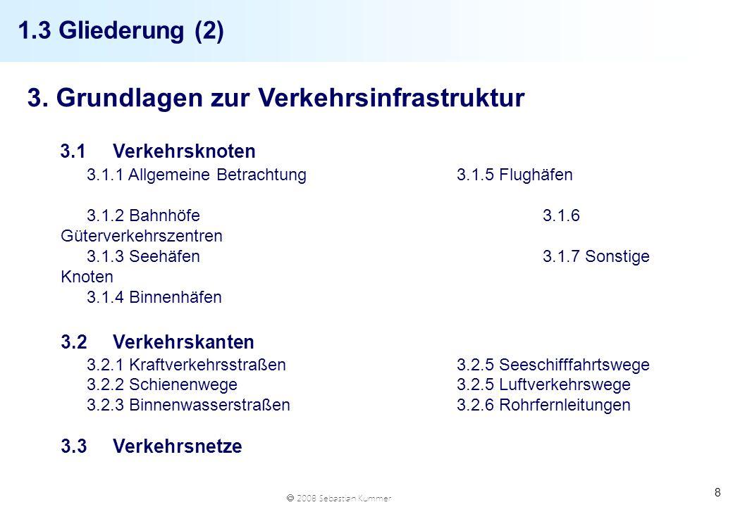 2008 Sebastian Kummer 8 1.3 Gliederung (2) 3. Grundlagen zur Verkehrsinfrastruktur 3.1Verkehrsknoten 3.1.1 Allgemeine Betrachtung3.1.5 Flughäfen 3.1.2