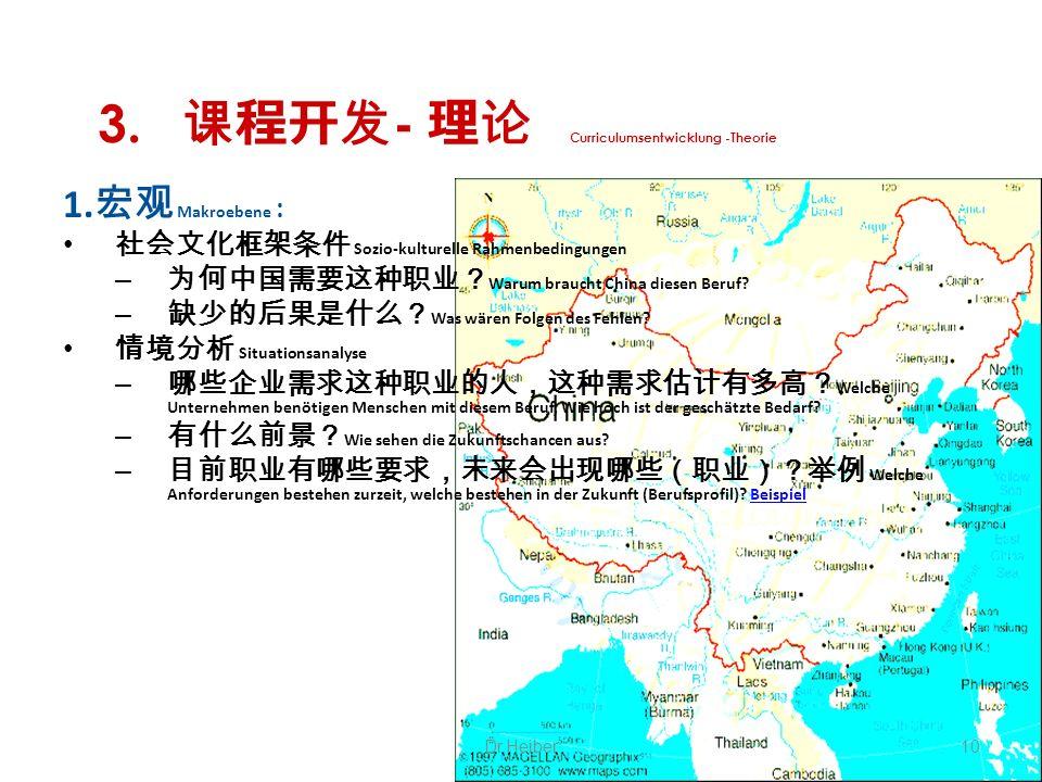 3. - Curriculumsentwicklung -Theorie 1. Makroebene : Sozio-kulturelle Rahmenbedingungen – Warum braucht China diesen Beruf? – Was wären Folgen des Feh