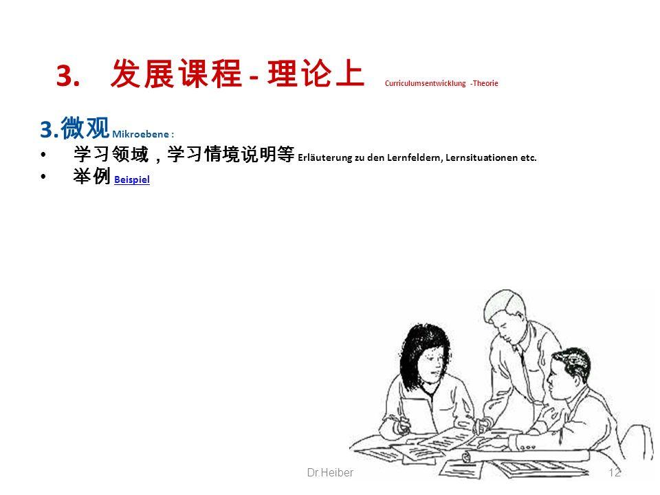 3. - Curriculumsentwicklung -Theorie 3. Mikroebene : Erläuterung zu den Lernfeldern, Lernsituationen etc. Beispiel Dr.Heiber12