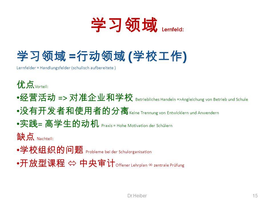 Lernfeld: = ( ) Lernfelder = Handlungsfelder (schulisch aufbereitete ) Vorteil: => Betriebliches Handeln =>Angleichung von Betrieb und Schule Keine Tr