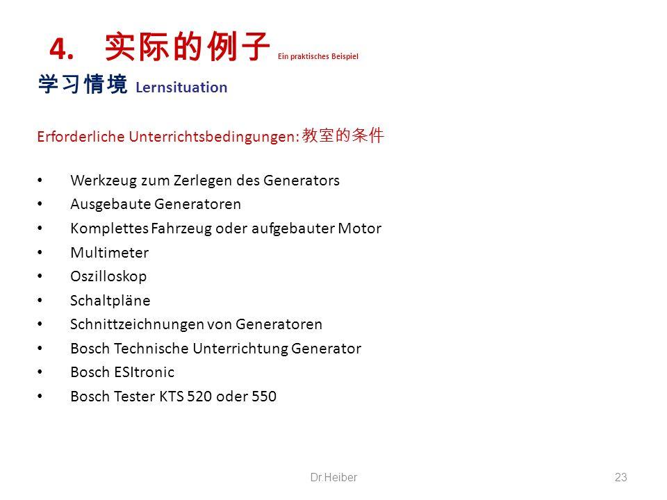 Lernsituation Erforderliche Unterrichtsbedingungen: Werkzeug zum Zerlegen des Generators Ausgebaute Generatoren Komplettes Fahrzeug oder aufgebauter M