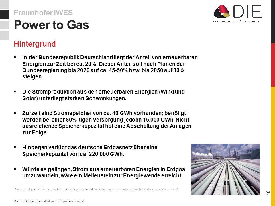 Hintergrund In der Bundesrepublik Deutschland liegt der Anteil von erneuerbaren Energien zur Zeit bei ca.