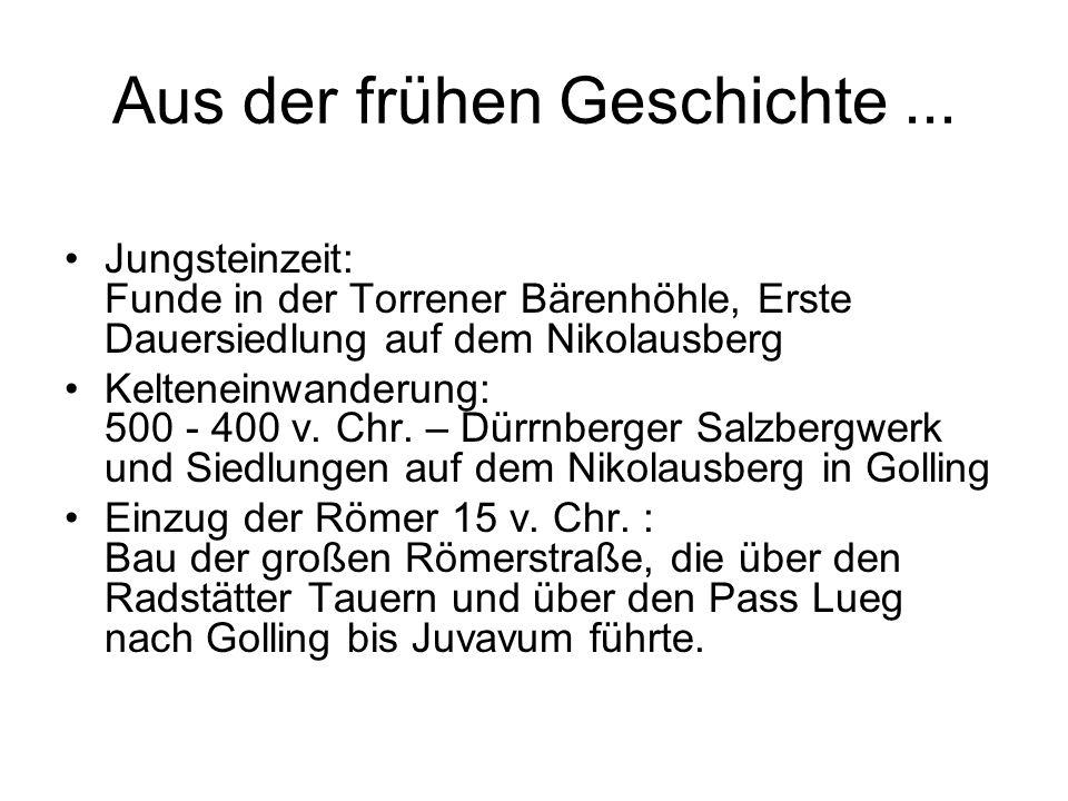Aus der frühen Geschichte... Jungsteinzeit: Funde in der Torrener Bärenhöhle, Erste Dauersiedlung auf dem Nikolausberg Kelteneinwanderung: 500 - 400 v