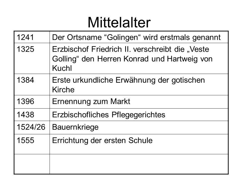 Mittelalter 1241Der Ortsname Golingen wird erstmals genannt 1325Erzbischof Friedrich II. verschreibt die Veste Golling den Herren Konrad und Hartweig