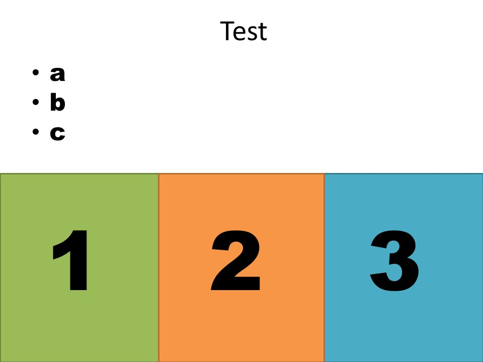 a b c Test 123