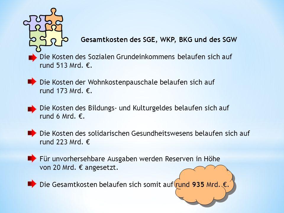 Gesamtkosten des SGE, WKP, BKG und des SGW Die Kosten des Sozialen Grundeinkommens belaufen sich auf rund 513 Mrd..