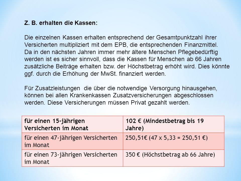 Z. B. erhalten die Kassen: Die einzelnen Kassen erhalten entsprechend der Gesamtpunktzahl ihrer Versicherten multipliziert mit dem EPB, die entspreche