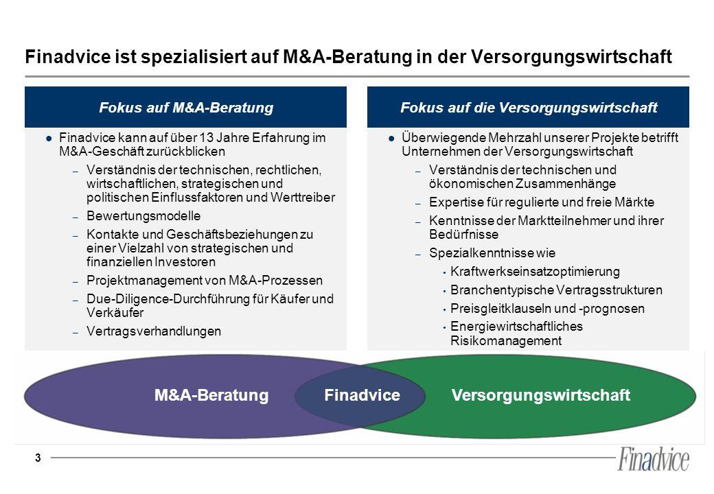 3 Finadvice ist spezialisiert auf M&A-Beratung in der Versorgungswirtschaft VersorgungswirtschaftM&A-BeratungFinadvice Finadvice kann auf über 13 Jahr