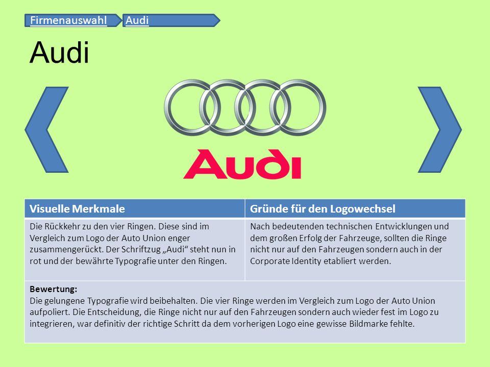 Visuelle MerkmaleGründe für den Logowechsel Die Rückkehr zu den vier Ringen. Diese sind im Vergleich zum Logo der Auto Union enger zusammengerückt. De
