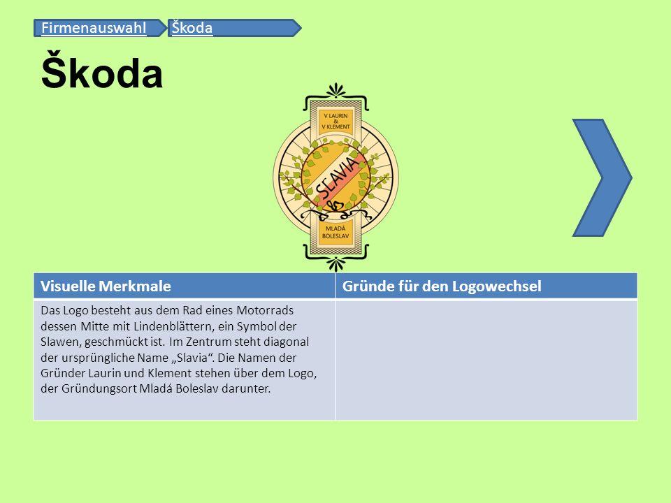 Škoda Visuelle MerkmaleGründe für den Logowechsel Das Logo besteht aus dem Rad eines Motorrads dessen Mitte mit Lindenblättern, ein Symbol der Slawen,