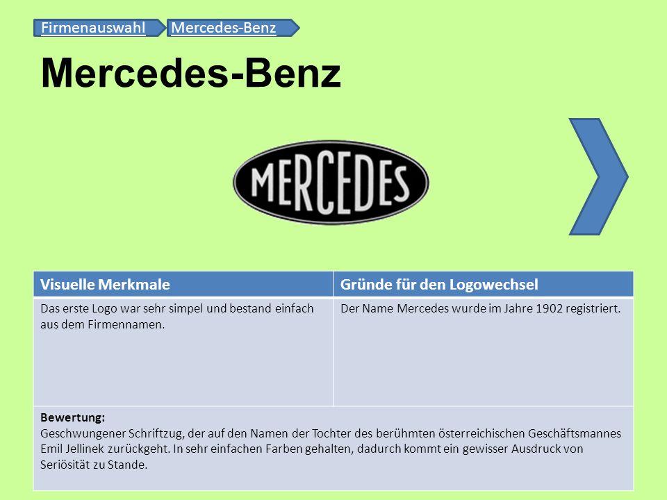 Mercedes-Benz FirmenauswahlFirmenauswahl Mercedes-BenzMercedes-Benz Visuelle MerkmaleGründe für den Logowechsel Das erste Logo war sehr simpel und bes