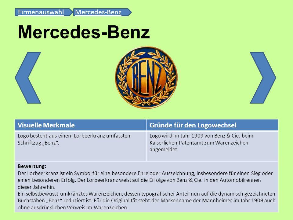 Mercedes-Benz FirmenauswahlFirmenauswahl Mercedes-BenzMercedes-Benz Visuelle MerkmaleGründe für den Logowechsel Logo besteht aus einem Lorbeerkranz um