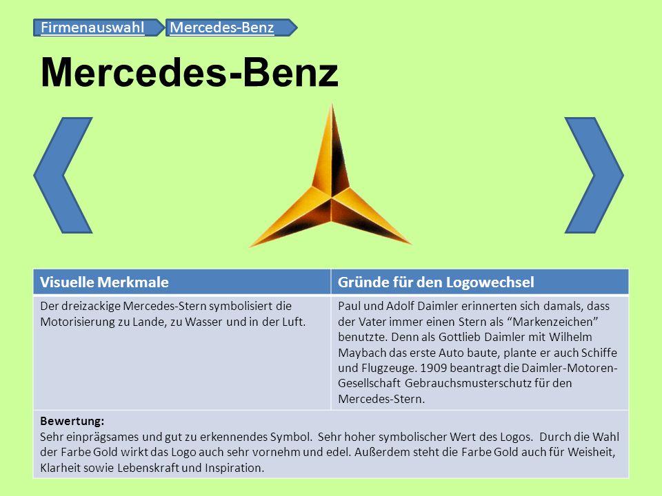Mercedes-Benz FirmenauswahlFirmenauswahl Mercedes-BenzMercedes-Benz Visuelle MerkmaleGründe für den Logowechsel Der dreizackige Mercedes-Stern symboli