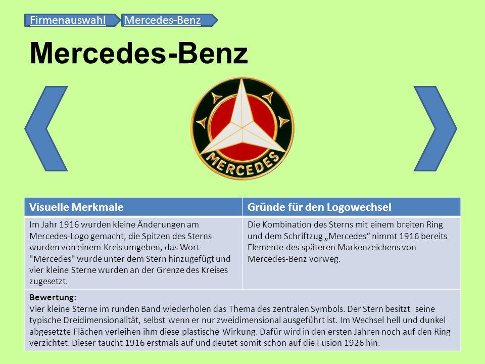 Mercedes-Benz FirmenauswahlFirmenauswahl Mercedes-BenzMercedes-Benz Visuelle MerkmaleGründe für den Logowechsel Im Jahr 1916 wurden kleine Änderungen