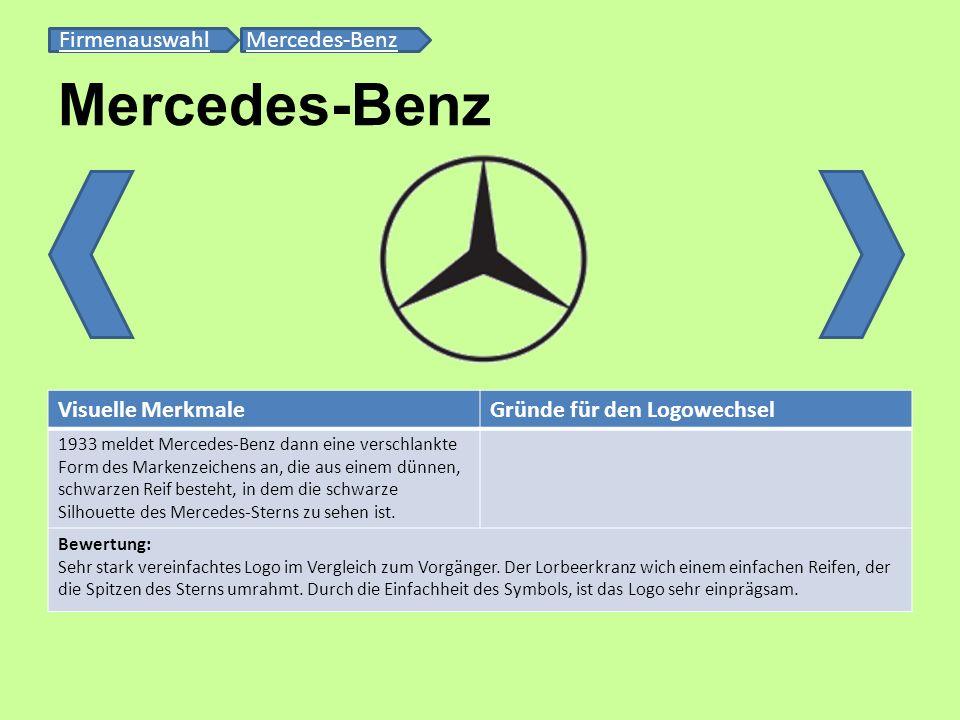 Mercedes-Benz FirmenauswahlFirmenauswahl Mercedes-BenzMercedes-Benz Visuelle MerkmaleGründe für den Logowechsel 1933 meldet Mercedes-Benz dann eine ve