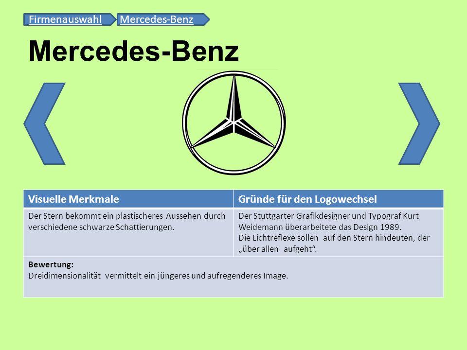 Mercedes-Benz FirmenauswahlFirmenauswahl Mercedes-BenzMercedes-Benz Visuelle MerkmaleGründe für den Logowechsel Der Stern bekommt ein plastischeres Au