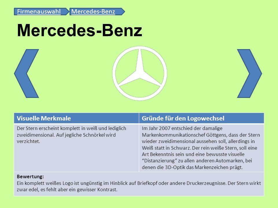 Mercedes-Benz FirmenauswahlFirmenauswahl Mercedes-BenzMercedes-Benz Visuelle MerkmaleGründe für den Logowechsel Der Stern erscheint komplett in weiß u