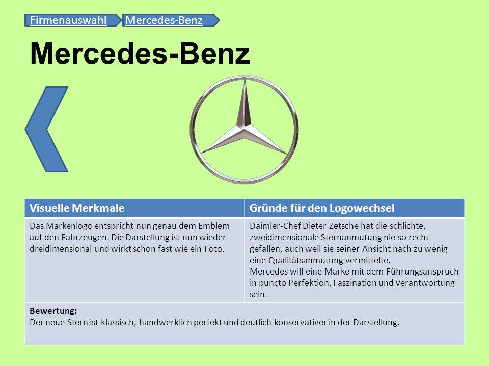 Mercedes-Benz FirmenauswahlFirmenauswahl Mercedes-BenzMercedes-Benz Visuelle MerkmaleGründe für den Logowechsel Das Markenlogo entspricht nun genau de