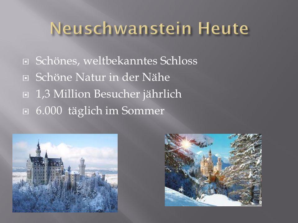 Schönes, weltbekanntes Schloss Schöne Natur in der Nähe 1,3 Million Besucher jährlich 6.000 täglich im Sommer