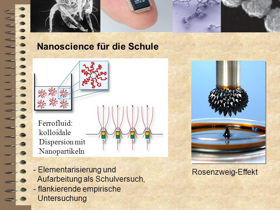 Nanoscience für die Schule Ferrofluid: kolloidale Dispersion mit Nanopartikeln Rosenzweig-Effekt - Elementarisierung und Aufarbeitung als Schulversuch