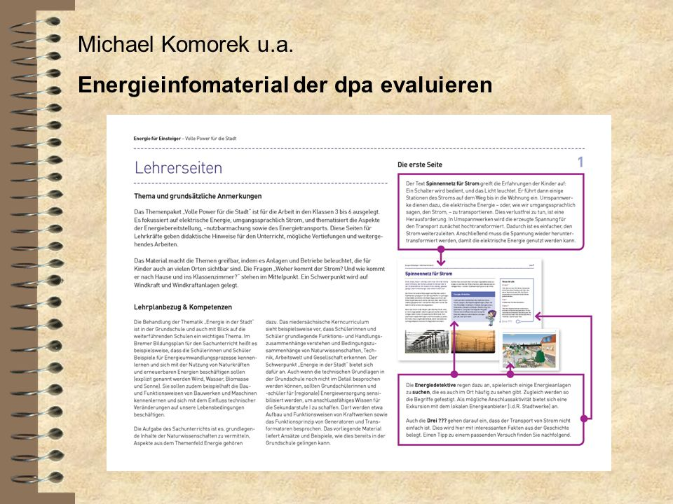 Michael Komorek u.a. Energieinfomaterial der dpa evaluieren
