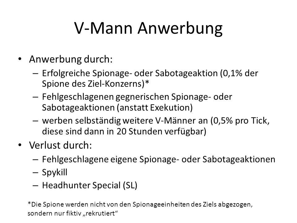 V-Mann Anwerbung Anwerbung durch: – Erfolgreiche Spionage- oder Sabotageaktion (0,1% der Spione des Ziel-Konzerns)* – Fehlgeschlagenen gegnerischen Sp