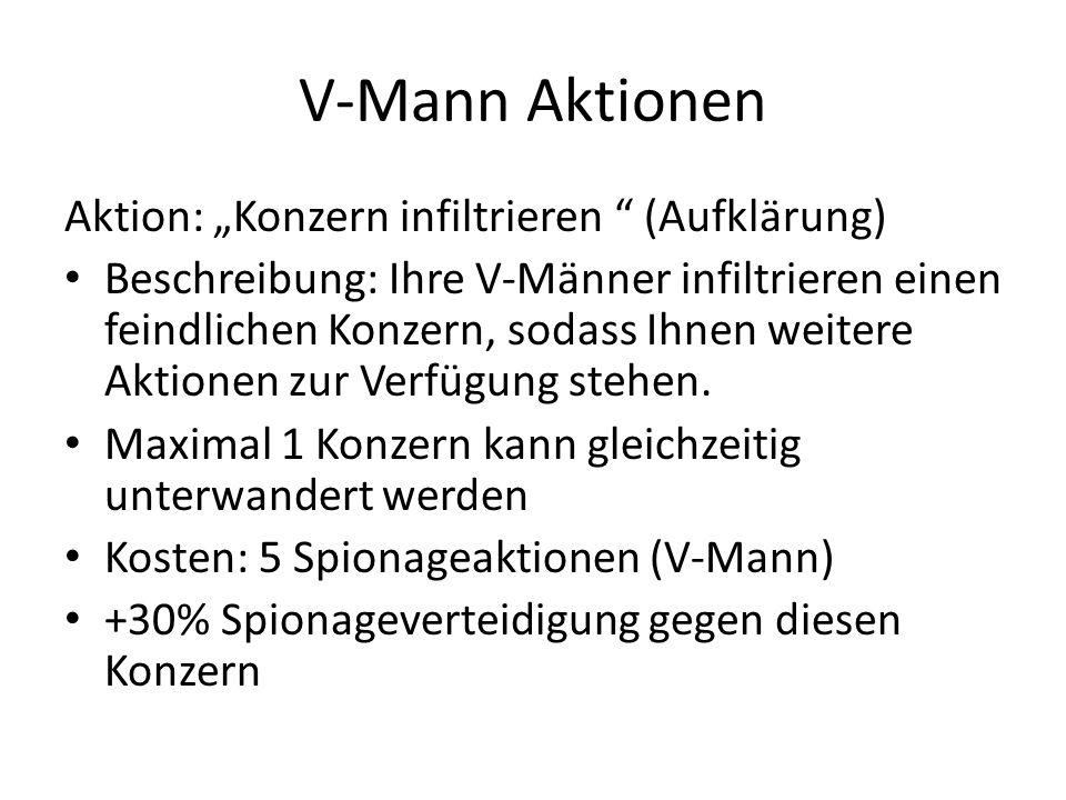 V-Mann Aktionen Aktion: Konzern infiltrieren (Aufklärung) Beschreibung: Ihre V-Männer infiltrieren einen feindlichen Konzern, sodass Ihnen weitere Akt