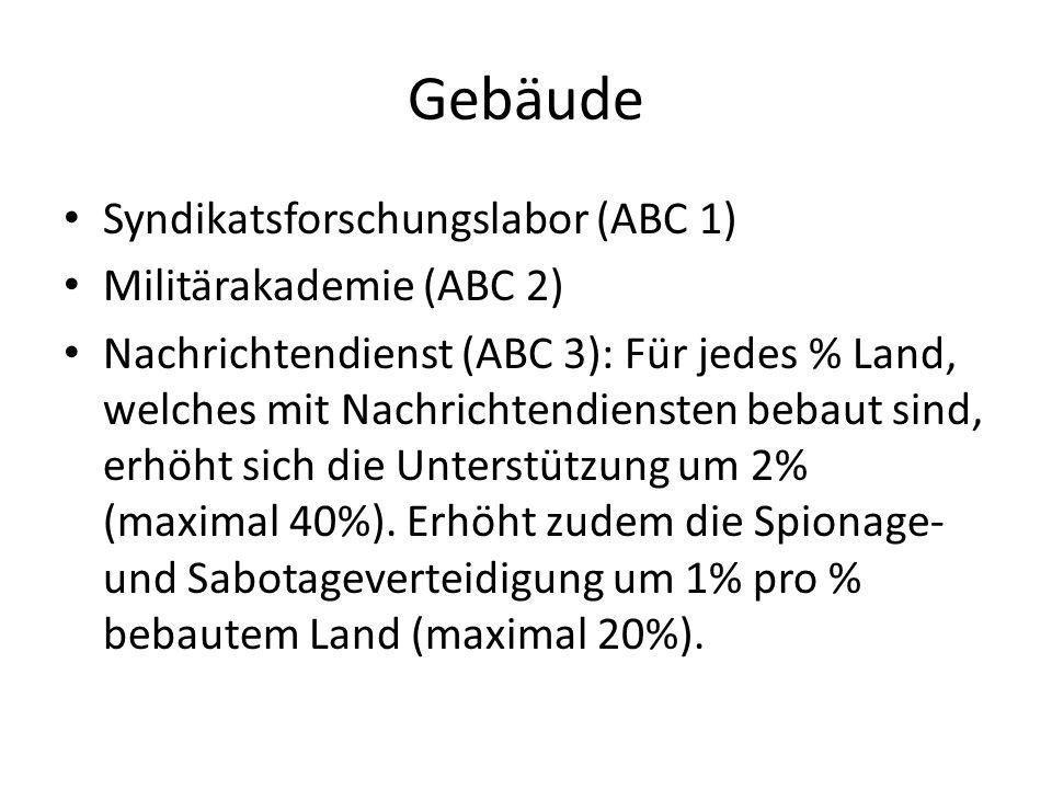 Gebäude Syndikatsforschungslabor (ABC 1) Militärakademie (ABC 2) Nachrichtendienst (ABC 3): Für jedes % Land, welches mit Nachrichtendiensten bebaut s