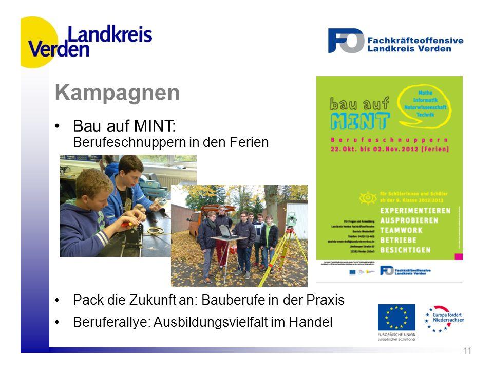 Bau auf MINT: Berufeschnuppern in den Ferien 11 Kampagnen Pack die Zukunft an: Bauberufe in der Praxis Beruferallye: Ausbildungsvielfalt im Handel