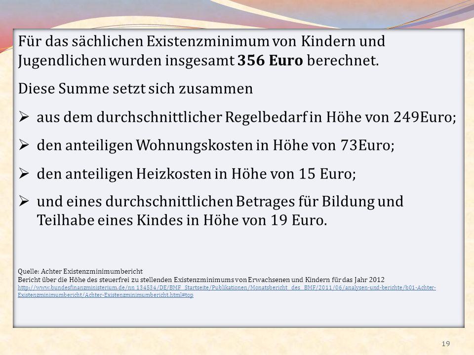 19 Für das sächlichen Existenzminimum von Kindern und Jugendlichen wurden insgesamt 356 Euro berechnet. Diese Summe setzt sich zusammen aus dem durchs