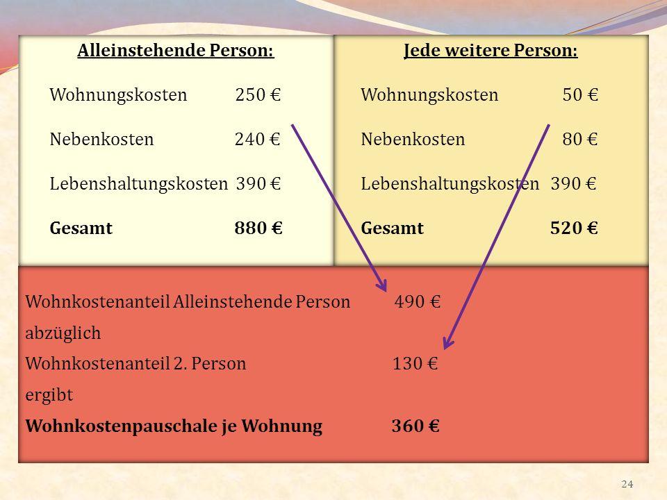24 Alleinstehende Person: Wohnungskosten 250 Nebenkosten 240 Lebenshaltungskosten 390 Gesamt 880 Jede weitere Person: Wohnungskosten 50 Nebenkosten 80